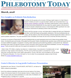 A free monthly enewsletter exclusively on blood sample collection for laboratory testing.